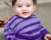Hand Knit Baby Sweater, Unisex -- CALVERT STREET -- Light and Dark Purple Striped -- Childrens Clothing --  Perfect for Spring Baby Showers