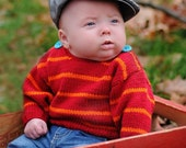 Unisex Baby Sweater--CANAL ROAD--Red and Orange Striped--Size 3-6 Months--Perfect for Winter and Valentines Day