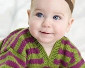 Childrens Clothing -- Hand Knit Baby Sweater, Girls -- PARK ROAD -- Pink and Green Striped V-Neck -- Perfect for Holidays and Baby Showers