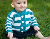 Childrens Clothing -- Hand Knit Baby Sweater, Unisex -- ONTARIO PLACE -- Aqua and White Striped Cardigan -- Perfect for Winter