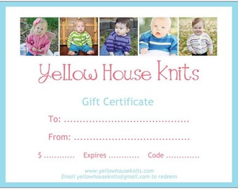 Yellow House Knits Gift Certificate--75 Dollars