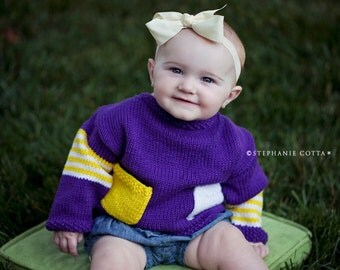 Unisex Baby Sweater, Hand Knit -- Childrens Clothing -- Volta Place -- Purple, Yellow, and White -- Perfect for Baby Showers