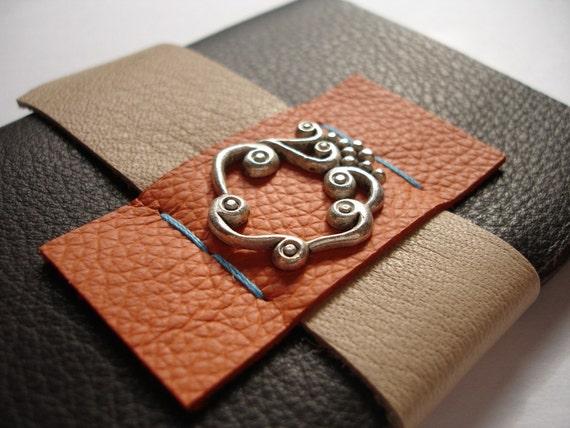 Ornate Swirls Journal in Moleskine Style - Brown Leather Notebook - Gift Idea