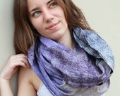 """Made to order nuno felted merino wool silk light soft cowl cirle scarf in violet dark lavender purple lilac - """"French feeling"""""""
