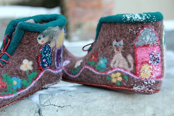 """Warm hand felted brown women slippers cute rustic fairy tale design gift idea for her size 10- """"One happy village"""""""