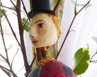 OOAK hand made doll - Mr. Ladybird -  Paper clay dolls-Air dry clay dolls- Collecting doll