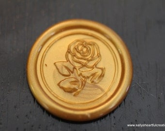 Beauty and the Beast Rose Self Adhesive Faux Wax Seal for Shabby Chic Weddings