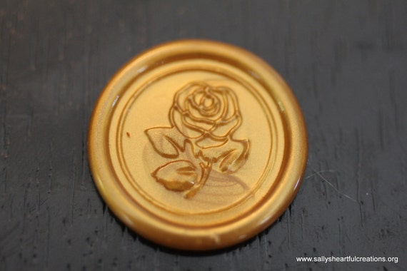 Rose Self Adhesive Faux Wax Seal for Shabby Chic Weddings