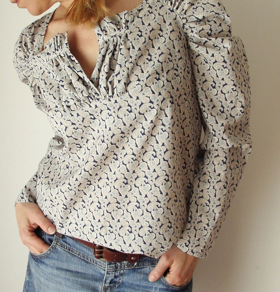 Cream and Blue Liberty Cashemir - Blouse Shirred
