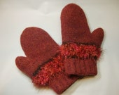 Wool felted mittens - rosy rust color with brown