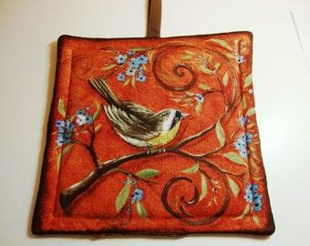 Bird print pot holder - terra cotta