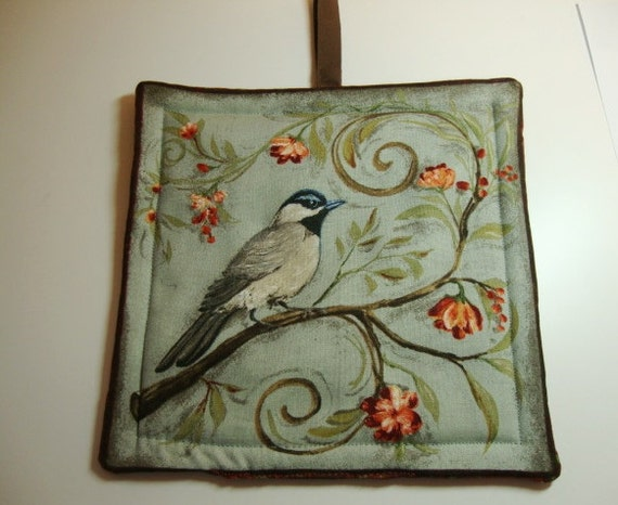 Special Order for Vandi  - Bird print pot holder - blue