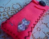 Pink Owl Pencil Pouch Felt Eyeglass Case