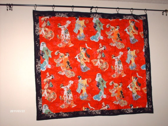 "Geisha In Red  Quilted Wall Art  46"" X 41"" 2-1A"