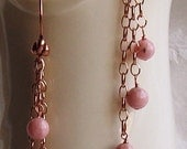 Copper and Pink Dyed Jade 3 Different Length Wire Wrapped Dangle Earrings