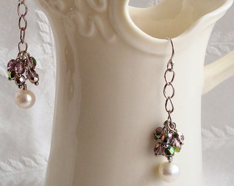 White fresh water pearl and fire polished faceted glass crystal cluster silver dangle earrings