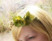 S A L E - A Most Pleasing Green (floral and berry hair crown)