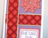 FREE SHIPPING Get Well Soon Cross Stitch Card in Red and Purple Tea Bag Folding