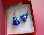 Shades of Blue Wire Wrapped Seaglass Earrings