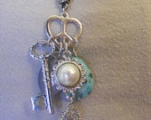 Key to my heart silver and turquoise Necklace