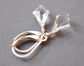 Crystal Quartz Earrings, Sterling Silve Dangle Earrings