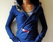 Hoodie Wrap, Japanese Print and Organic Soy Jersey - KANA, 12 Color Combinations, Customize Yours