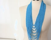 Statement Beaded Layered Turquoise Blue Long Necklace 32 Strands- READY TO SHIP - Sale