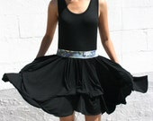 SALE - Layered Ruffled Womens Tank Dress with Bubble Skirt in Stretch Knit Cotton Black with Satin Belt - LAUREN