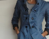 SALE - Womens Ruffled Jacket Blazer with Fitted Princess Seams and High Collar in Steal Gray/Blue and Purple - JASMINE