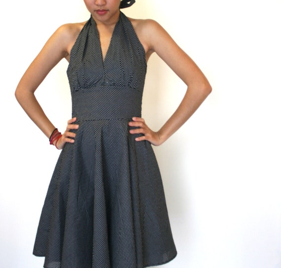 Polka Dot Retro Dress in Black White Cotton, Halter Top Vneck,  Vintage 50s Inspired Summer Rockabilly Style- JESS