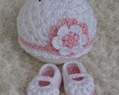 IN STOCK. Newborn Crochet Flower Beanie Hat and Fancy Maryjane Booties Set in white, pink.