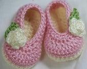 PDF Crochet Pattern for Baby Rosey Ballet Slippers -  4 sizes - Newborn to 12 months.