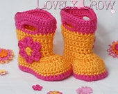 Booties Crochet Pattern Baby Rainboots  for Baby Goshalosh Boots -  4 sizes - Newborn to 12 months. digital