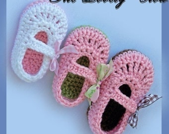 Baby Girl Slippers Crochet Pattern Maryjanes for BABY RIBBON MARYJANES digital