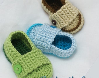 easy boy Crochet Pattern Loafers  for Little PRINCE Loafers  -  4 sizes - Newborn to 12 months. digital