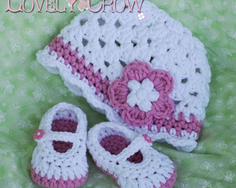 PDF Crochet Pattern for Bulky Baby Button Maryjanes , and  Bulky Princess Flower Beanie Hat digital