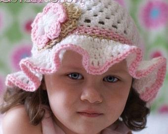 Floppy Hat Crochet Pattern for - Teaparty Hat digital