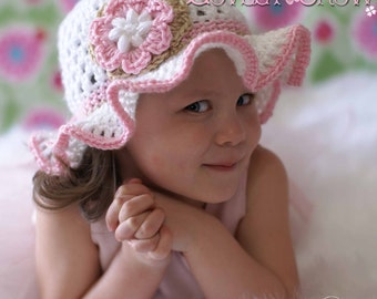 Easter Hat Crochet Pattern for Teaparty Hat - sizes from newborn to 4T digital