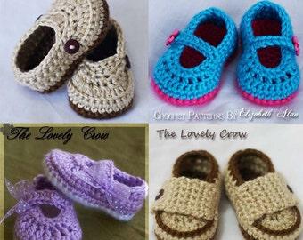 Baby Slippers 4 Pattern Package, 4 Booties Crochet Patterns digital