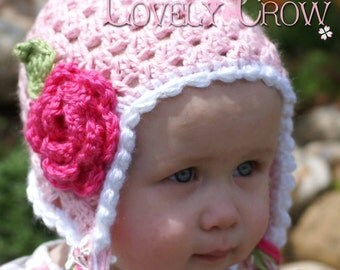 Hat Crochet Pattern for Sugar and Spice Earflap Beanie - sizes from newborn to 4T digital