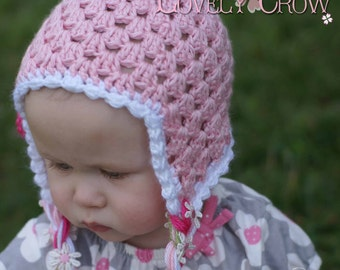 Baby Hat Crochet Pattern Baby Hat  for Sugar and Spice Earflap Beanie - sizes from newborn to 4T digital