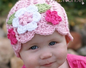 Baby Girl Beanie Crochet Pattern Baby Beanie for - Garden Fairy Hat digital