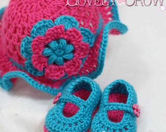Hat and Booties Crochet Patterns Teaparty Set.  Includes patterns for Teaparty Hat, and Teaparty Mary Janes. digital