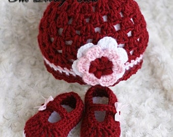 Infant Crochet Pattern Set  for Baby Ribbon Maryjane Booties, and Princess Flower Beanie Hat digital