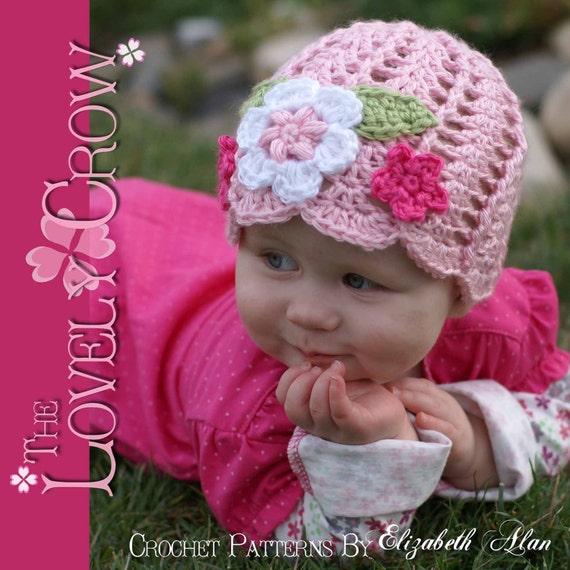 Baby Beanie Crochet Pattern Flower Beanie for Garden Fairy Hat digital