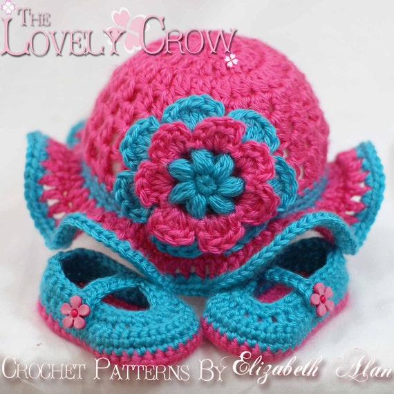 Baby Crochet Patterns Teaparty Set.  Includes patterns for Teaparty Hat, and Teaparty Mary Janes. digital