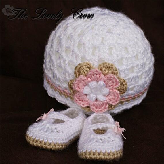 Crochet Pattern Set  for Baby Ribbon Maryjane Booties, and Princess Flower Beanie Hat digital