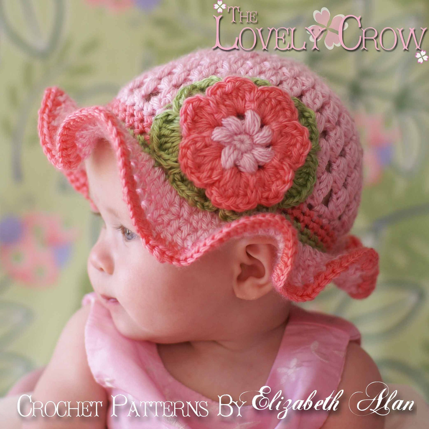 Crochet Pattern Newborn Girl Hat : Baby Girl Sun Hat Crochet Pattern for Teaparty Hat sizes