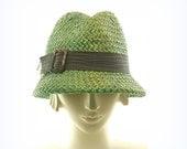 Bottle Green Fedora Hat - Vintage Style Straw Hat