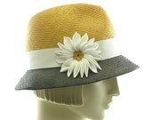 Black & Gold Color Block FEDORA HAT - Vintage Style Straw Hat
